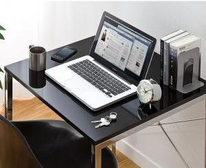 パソコンデスク(横幅60cm×奥行60cm・ワークデスク・鏡面仕上・ブラック)